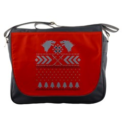 Winter Is Coming Game Of Thrones Ugly Christmas Red Background Messenger Bags by Onesevenart