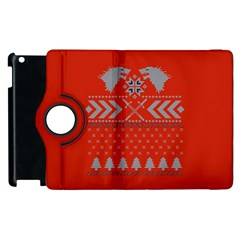 Winter Is Coming Game Of Thrones Ugly Christmas Red Background Apple Ipad 2 Flip 360 Case by Onesevenart