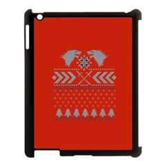 Winter Is Coming Game Of Thrones Ugly Christmas Red Background Apple Ipad 3/4 Case (black) by Onesevenart