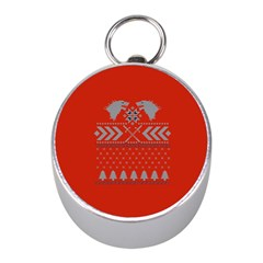 Winter Is Coming Game Of Thrones Ugly Christmas Red Background Mini Silver Compasses by Onesevenart