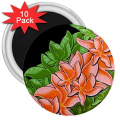 Decorative Flowers 3  Magnets (10 Pack)  by Valentinaart