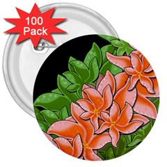Decorative Flowers 3  Buttons (100 Pack)  by Valentinaart
