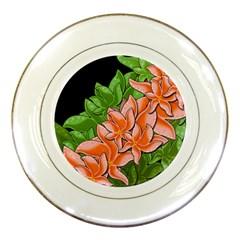Decorative Flowers Porcelain Plates by Valentinaart