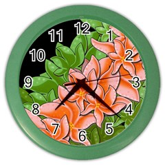 Decorative Flowers Color Wall Clocks by Valentinaart