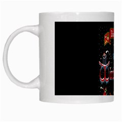 Winter Is Here Ugly Holiday Christmas Black Background White Mugs by Onesevenart