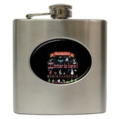 Winter Is Here Ugly Holiday Christmas Black Background Hip Flask (6 Oz) by Onesevenart