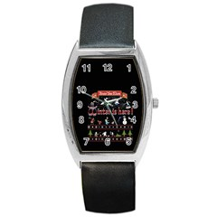 Winter Is Here Ugly Holiday Christmas Black Background Barrel Style Metal Watch by Onesevenart