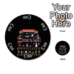 Winter Is Here Ugly Holiday Christmas Black Background Playing Cards 54 (round)  by Onesevenart