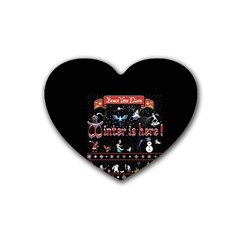 Winter Is Here Ugly Holiday Christmas Black Background Rubber Coaster (heart)  by Onesevenart