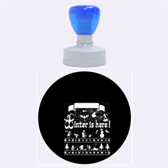 Winter Is Here Ugly Holiday Christmas Black Background Rubber Round Stamps (Large) by Onesevenart