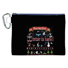 Winter Is Here Ugly Holiday Christmas Black Background Canvas Cosmetic Bag (xxl) by Onesevenart