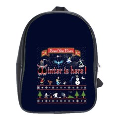 Winter Is Here Ugly Holiday Christmas Blue Background School Bags(large)  by Onesevenart