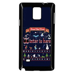 Winter Is Here Ugly Holiday Christmas Blue Background Samsung Galaxy Note 4 Case (black) by Onesevenart