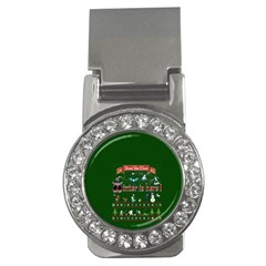 Winter Is Here Ugly Holiday Christmas Green Background Money Clips (cz)  by Onesevenart