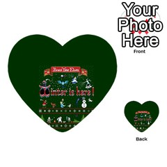 Winter Is Here Ugly Holiday Christmas Green Background Multi Purpose Cards (heart)  by Onesevenart