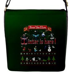 Winter Is Here Ugly Holiday Christmas Green Background Flap Messenger Bag (s) by Onesevenart