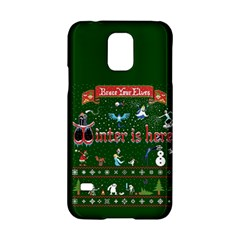Winter Is Here Ugly Holiday Christmas Green Background Samsung Galaxy S5 Hardshell Case  by Onesevenart