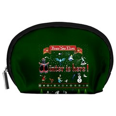 Winter Is Here Ugly Holiday Christmas Green Background Accessory Pouches (large)  by Onesevenart