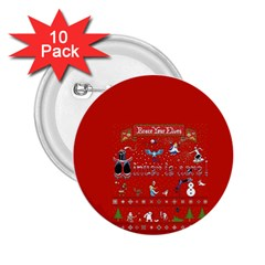 Winter Is Here Ugly Holiday Christmas Red Background 2 25  Buttons (10 Pack)  by Onesevenart