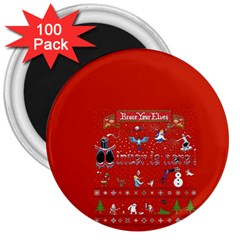 Winter Is Here Ugly Holiday Christmas Red Background 3  Magnets (100 Pack) by Onesevenart