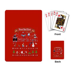 Winter Is Here Ugly Holiday Christmas Red Background Playing Card by Onesevenart