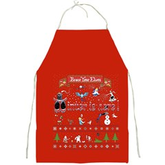 Winter Is Here Ugly Holiday Christmas Red Background Full Print Aprons by Onesevenart
