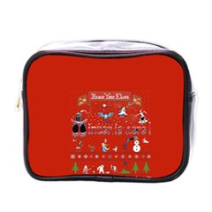 Winter Is Here Ugly Holiday Christmas Red Background Mini Toiletries Bags by Onesevenart