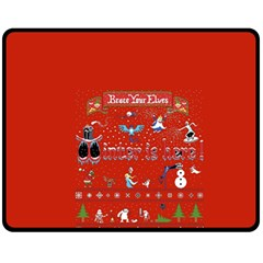 Winter Is Here Ugly Holiday Christmas Red Background Fleece Blanket (medium)  by Onesevenart