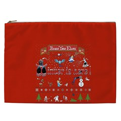 Winter Is Here Ugly Holiday Christmas Red Background Cosmetic Bag (xxl)  by Onesevenart