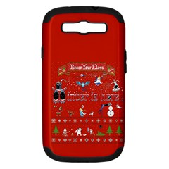 Winter Is Here Ugly Holiday Christmas Red Background Samsung Galaxy S Iii Hardshell Case (pc+silicone) by Onesevenart