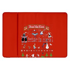 Winter Is Here Ugly Holiday Christmas Red Background Samsung Galaxy Tab 8 9  P7300 Flip Case by Onesevenart