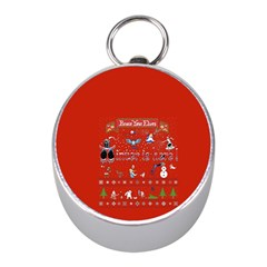 Winter Is Here Ugly Holiday Christmas Red Background Mini Silver Compasses by Onesevenart