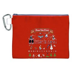 Winter Is Here Ugly Holiday Christmas Red Background Canvas Cosmetic Bag (xxl) by Onesevenart