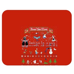 Winter Is Here Ugly Holiday Christmas Red Background Double Sided Flano Blanket (medium)  by Onesevenart