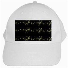 Yellow Elegant Xmas Snowflakes White Cap by Valentinaart