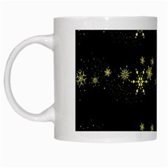 Yellow Elegant Xmas Snowflakes White Mugs by Valentinaart