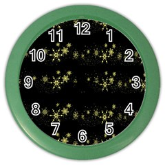 Yellow Elegant Xmas Snowflakes Color Wall Clocks by Valentinaart
