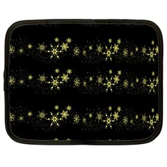 Yellow Elegant Xmas Snowflakes Netbook Case (large) by Valentinaart