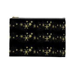 Yellow Elegant Xmas Snowflakes Cosmetic Bag (large)  by Valentinaart