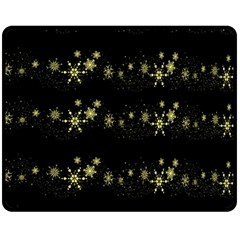 Yellow Elegant Xmas Snowflakes Fleece Blanket (medium)  by Valentinaart