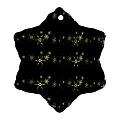 Yellow Elegant Xmas Snowflakes Ornament (snowflake)  by Valentinaart