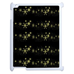 Yellow Elegant Xmas Snowflakes Apple Ipad 2 Case (white) by Valentinaart