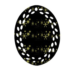Yellow Elegant Xmas Snowflakes Oval Filigree Ornament (2 Side)  by Valentinaart