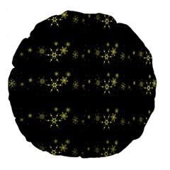 Yellow Elegant Xmas Snowflakes Large 18  Premium Flano Round Cushions by Valentinaart