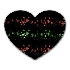 Decorative Xmas Snowflakes Heart Mousepads by Valentinaart