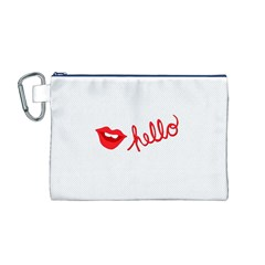 Hello Lip Red Sexy Canvas Cosmetic Bag (m) by AnjaniArt