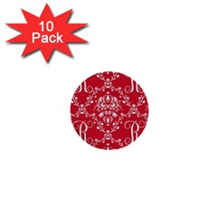 Initial Damask Red Paper 1  Mini Buttons (10 Pack)