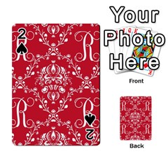 Initial Damask Red Paper Playing Cards 54 Designs