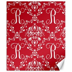 Initial Damask Red Paper Canvas 20  X 24   by AnjaniArt