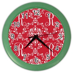 Initial Damask Red Paper Color Wall Clocks by AnjaniArt